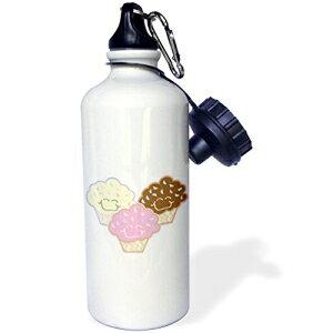 "3dRose wb_106943_1 ""かわいいバニラストロベリーチョコレートカップケーキ""スポーツウォーターボトル、21オンス、ホワイト 3dRose wb_106943_1""Cute Vanilla Strawberry Chocolate Cupcakes"" Sports Water Bottle, 21 oz, Whi"
