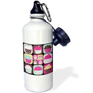 3dRose wb_38365_1 a D ozenカップケーキスポーツウォーターボトル、21オンス、ホワイト 3dRose wb_38365_1 a D ozen Cupcakes Sports Water Bottle, 21 oz, White