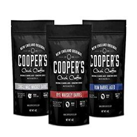 ウイスキー&ラムバレル熟成コーヒー豆ボックスセット-挽いた-3袋のコーヒーサンプラー-シングルオリジンスマトラウイスキー、エチオピアライ、ルワンダラムローストコーヒー豆、12オンス(3袋挽いた、合計12オンス) Cooper's Cask Coffee Whiskey & Rum Barrel A