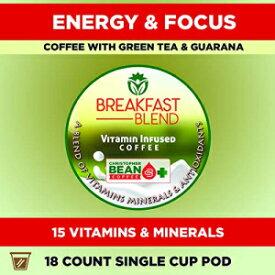 ビタミンコーヒー、朝食ブレンドエネルギー&フォーカス| ケト| パレオ| 15の強力なビタミンが詰め込まれ、キューリグKカップ醸造所と互換性のあるシングルカップポッド(18カウント)。 Christopher Bean Coffee Vitamin Coffee, Breakfast Blend Energy &