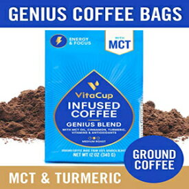 VitaCupGeniusブレンド挽いたコーヒーバッグ12オンス。MCTオイル、ターメリック、ビタミン、シナモン、ケト|パレオ| Whole30フレンドリー、B12、B9、B6、B5、B1、D3、およびコーヒーメーカー、ポット、フレンチプレス用の酸化防止剤 VitaCup Genius Blend Ground Cof
