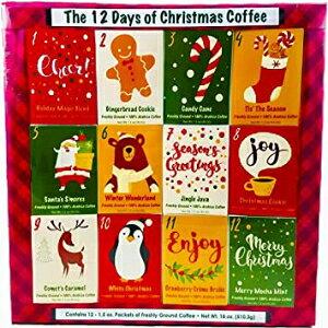 クリスマスサンプラーギフトクリスマスグルメギフトボックスセット用のコーヒー、紅茶、またはココア(ホットチョコレート)の12日間-友人、家族、企業、同僚、または教師(コーヒー)