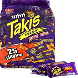 25 Count (Pack of 1), Product Of Barcel Takis , Mini Fuego Bag , Count 25 (1.2 oz) - Chips / Grab Varieties & Flavors