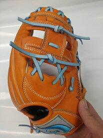 カスタマイズグラブ 久保田スラッガー 軟式少年KSN-J6 オレンジX水色 湯揉み型付け込み