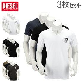 ディーゼル DIESEL Tシャツ メンズ 半袖 Vネック トップス インナー ワンポイント ティーシャツ 3枚セット 00SHGU 0TANL Umtee Michael [glv15] あす楽