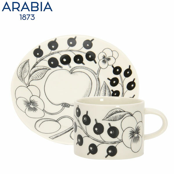 Arabia アラビア 北欧食器ブラックパラティッシ (ブラック パラティッシ ブラパラ) 64 1180 カップ&ソーサー (皿) セット 0.28L Cup & 16.5cm Saucer Set