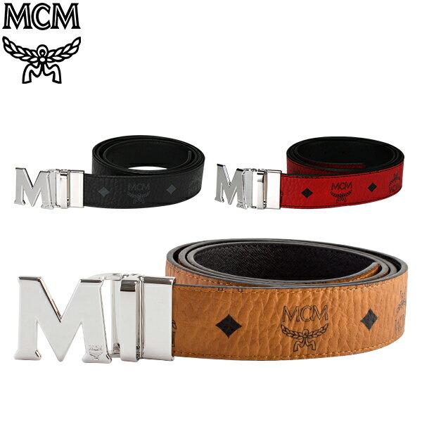 【当店限定Wエントリーでポイント14倍】 MCM エムシーエム リバーシブル ベルト メンズ フリーサイズ MXB6AVI02 MEN'S BELT VISETOS リバーシブルベルト カット調整可