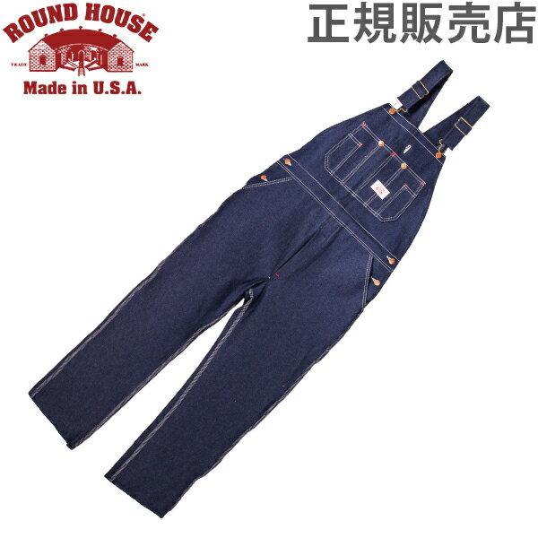 【最大3%OFFクーポン 2/24まで】ラウンドハウス Round House #966 ブルー デニム オーバーオール クラシックブルー メンズ Men Blue Denim Bib Overalls Classic Blue ビブ 正規販売店