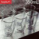 ボダム グラス ダブルウォールグラス パヴィーナ 6個セット 350mL タンブラー 保温 保冷 クリア 4559-10-12US bodum Double Wall Glass Pavina Gift Set (SET of 6) Medium, 0/35L, 12oz ビール
