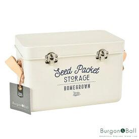 Burgon&Ball/バーゴン&ボールレザーハンドル シードパケット ストレージ ストーン- Leather Handled Seed Packet Storage Tin - Stone - [GEN/SEEDSTONE]