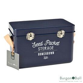 Burgon&Ball/バーゴン&ボールレザーハンドル シードパケット ストレージ アトランティックブルー- Leather Handled Seed Packet Storage Tin - Atlantic Blue - [GEN/SEEDATLANT]
