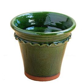 グレイズド ペイストリーフラワーポット 直径18cmサイズカラー:モス[Whichford Pottery ウィッチフォード 植木鉢]