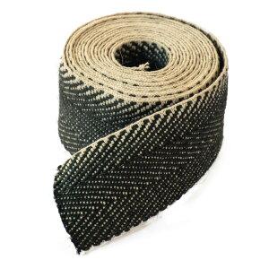 ナッツシーン ジュートウェビング(約5cm) 全長約3mブラックヘリンボーン模様「Jute Webbing Black Herringbone」