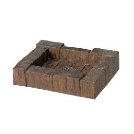 お庭の水道をお洒落に。ガーデンパン水受け ランバーパン ブラウン枕木タイプ立水栓にお薦め[ニッコーエクステリア]【メーカー直送・代金引換不可】