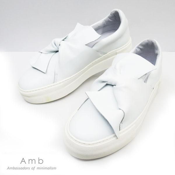 *即納*新作 Amb (エーエムビー) ローカット レザースニーカー ホワイト リボン スニーカー NY BOW【レディース】 amb スニーカー  amb レザー 靴 Ambassadors スニーカー 白 スリッポン