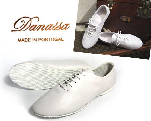 【定番】外で履くことが前提で作られた JAZZ シューズ レースアップ DANASSA JAZZ SHOESダナッサ ジャズ シューズ( WHITE : ホワイト 白 )レザー ダンスシューズ ひも靴 マニッシュシューズ