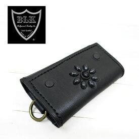 HTC BLACK キーケース KEY CASEフラワーモチーフ ブラックレザー ブラックスタッズ ブラックストーン( エイチティーシー キーケース )htcblack kcb1k024 ブラック×ブラック