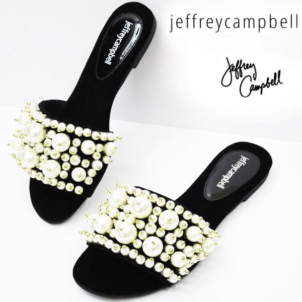 【2018SS】足が小さく見える♪ パールいっぱいサンダル ! ヒール約1cm  Jeffrey Campbell ( ジェフリーキャンベル ) フラット サンダル パール 【 BLACK ベルベット 】 3718 スリッパ サンダル