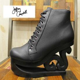 【歩くアート!】 SKATE Jeffrey Campbell ( ジェフリーキャンベル ) SKATE ( スケート ) ウェッジ レースアップブーツ ( ウッドソール ) 【BLACK】レザー 本革