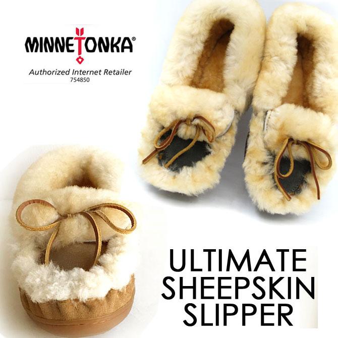2018FW新色グレーも仲間入り♪【国内正規品】温度調節をして蒸れずに快適 シープスキン100%使用の スリッパー モカシン ★ MINNETONKA ( ミネトンカ )The Ultimate Sheepskin Slipper ( 3401S : TAN、3404S : GREY )