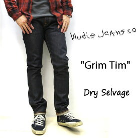 "NUDIE JEANS ( ヌーディージーンズ ) GRIM TIM (グリムティム) 育てがいのある""DRY""[ DRY SELVAGE ] (N129) / ドライセルヴィッジ 48161-1002 SKU#112205 nudie jeans grimtim  セルヴィッチ ユニセックス イタリア製"