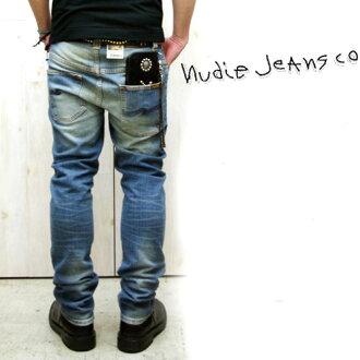 NUDIE JEANS(牛羚D牛仔裤)THIN FINN ORG. 有FLAT GREEN(090)/平地绿色THINFINN yuzudo加工伸展