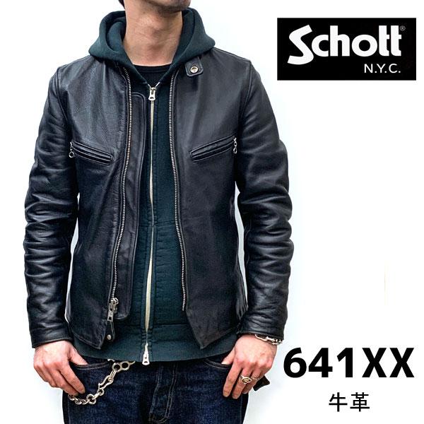 【schott 神戸正規】 【日本代理店別注モデル】Schott 641XX 60's641 シングルライダース【BLACK】 schott ライダース schott ショット schott 革ジャン