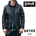 牛革 ステアハイド【schott 神戸正規】Schott 641XX 60's641XX シングルライダース【BLACK】 schott ライダース scho…