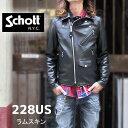 【schott 神戸正規 】 Schott アメリカ製☆ ( ショット )228US LAMB RIDERS JACKET / ラムレザーダブルライダース 09…
