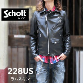 【schott 神戸正規 】 Schott アメリカ製☆ ( ショット )228US LAMB RIDERS JACKET / ラムレザーダブルライダース 09【 ブラック 】ダブルライダース schott 革ジャン 羊革 LAMBSKIN ☆ Made in USA