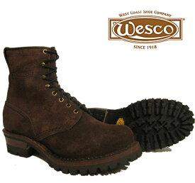 【最適なケアスプレープレゼント】【 WESCO 】ウエスコJob Master / ジョブマスター 8インチハイトBrown-suede#100ソール(ブラウン仕上げ) ,レギュラーToe , バブルToeフック アイレット/ブラス