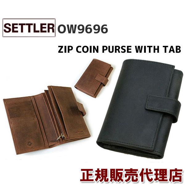 春財布 即納  WHITEHOUSECOX で人気の同型: 手帳形 財布 革のエイジングを手軽に楽しめる セトラー 財布 SETTLER OW9696 ZIP COIN PURSE WITH TAB ( BROWN / BLACK )有料ギフト包装サービスもご用意