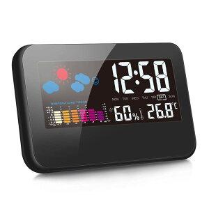 デジタル湿度計 温度計 LCD大画面 温湿度計 時間/月日/曜日/最高最低温湿度/温度傾向図表示 アラームタイム/センサー/バックライト機能あり