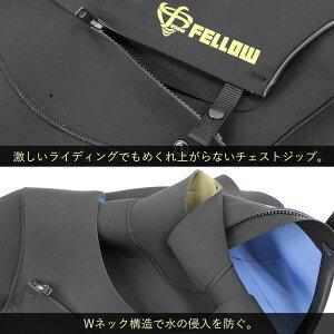 ウェットスーツフルスーツメンズFELLOWチェストジップタイプALL3mmWネック防水システムM〜XLB