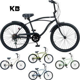 KB/ケイビービーチクルーザー 24インチ 外装6段ギア RAINBOW PRODUCTS 24KB-CityCruiser 6D 自転車 24インチ MATTE BLACK / KHAKI / SAND / BATTLE SHIP GRAY / RED /PASTEL GREEN