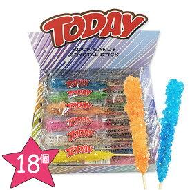 【1箱】TODAY ROCK CANDY ロックキャンディ 22g x1箱 (18個入り) 6種類の味