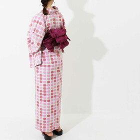 [お盆も通常発送]浴衣女性用ゆかた追加オプション可能ブランドゆかた単品Ummm.北欧モダンすぐに着られるお仕立て上がり浴衣-unk80104赤系綿100%