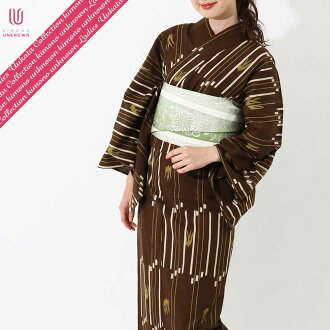[possible same day shipment] lady's yukata _ additional optional possible _ brand yukata _ one piece of article _ [elegant 1926 of the wind] _ newly made yukata -unk80111 [tea system] which is worn immediately [100% of cotton]