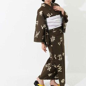 [お盆も通常発送]浴衣女性用ゆかた追加オプション可能ブランドゆかた高級ちりめんレディース浴衣単品風の雅1926すぐに着られるお仕立て上がり浴衣-unk80118茶系綿100%