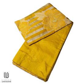 |送料無料|半巾帯【ゆかた帯】|京都岡重|花柄|牡丹|ボーダー|黄色|ゴールド|骸骨|★浴衣 和服 和装 おしゃれ