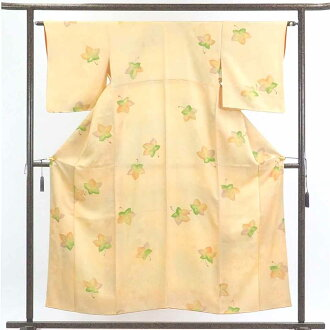 再利用和服小花纹/正絹薄山吹地袷小紋着物/女士