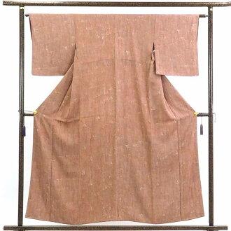 再利用和服小花纹/正絹茶色地袷小紋着物/女士