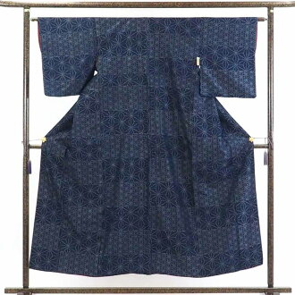 Leafstalk lined kimono pongee kimono / Lady's of recycling kimono pongee / 正絹紺地先染麻
