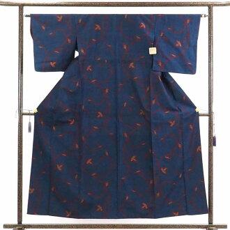 再利用和服捻线绸/正絹黒地紺絣胴抜裾八掛紬着物/女士