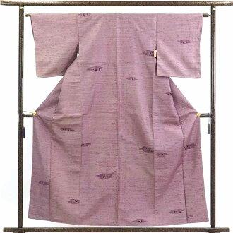 再利用和服捻线绸/正絹藤色袷紬着物/女士