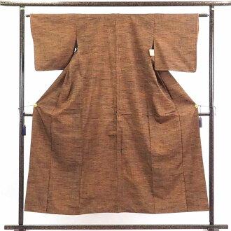 再利用和服捻线绸/正絹茶色地袷真綿紬着物/女士