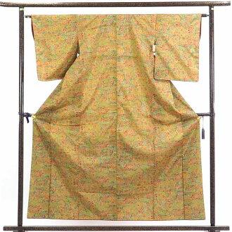 再利用和服捻线绸/正絹茶色地後染袷大島紬着物/女士