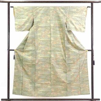 再利用和服捻线绸/纯丝浅驼色地袷紬着物/女士