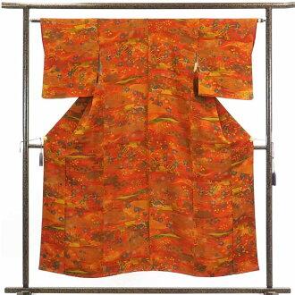 再利用和服小花纹/纯丝茶橙子地袷小紋着物/女士