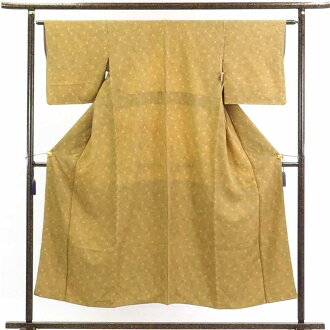 再利用和服小花纹/正絹黄土地菊柄袷小紋着物/女士(旧衣服再利用品小花纹)